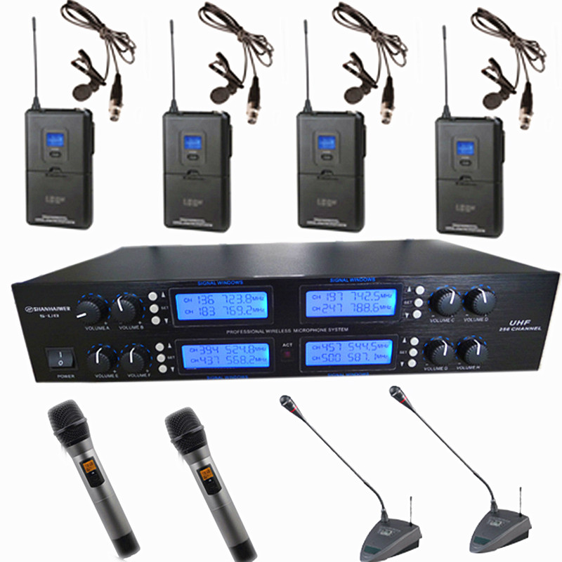 Eight channel UHF professional wireless microphone   Each channel can be frequency selective handheld and clip and  headsets and