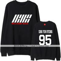 Kpop ikon debut album welcome back member name printing o neck sweatshirt men women b.i bobby pullover hoodie 3 colors