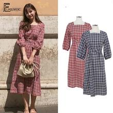 A Line Dresses Women Fashion Three Quater Korea Japan Style Girls Design Bow Tie Slim Waist Vintage Blue Red Plaid Dress Long