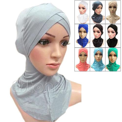 2017. gada musulmaņu Mercerized kokvilnas četru slāņu krustveida šalle Pilna vāka iekšējais kokvilnas hijab vāciņš islāma galvas valkāt cepuri Galvas lentes krāsas