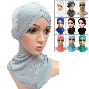 Image 1 - 2017 musulman mercerisé coton quatre couches écharpe croisée couverture complète intérieur coton Hijab casquette islamique coiffe de tête chapeau bandeau couleurs