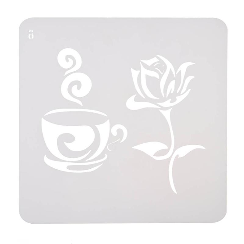 Rose Flower Coffee Cup Pattern Plastic Stencils For DIY Scrapbooking Photo Album Card Decor Template Pochoir For Walls Painting
