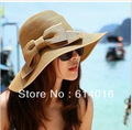 female folding large brim bow sunscreen windproof strawhat Free shipping Women's Sun hat Beach straw Portable Foldable Fashion