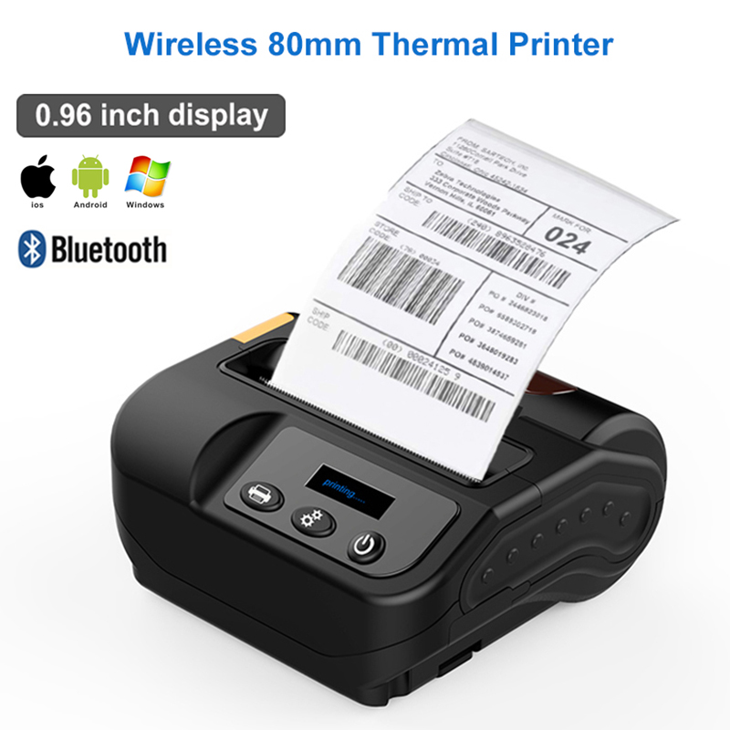 Free shipping 80mm bluetooth printer thermal printer thermal receipt printer bluetooth android mini 80mm thermal bluetooth image