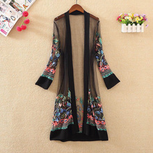 Women Shirts Tops Casual Vintage Kimono Cardigan for Ladies Summer Long Chiffon Kimono Loose Floral Printed Blouse Tops Shirt цена