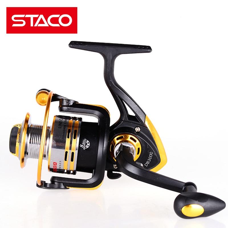 STACO Fishing Reel Saltwater Freshwater 5.2:1 Metal Spinning Reel Seat Fishing Reel Handle 8 Ball Bearings Boat Fishing Stream