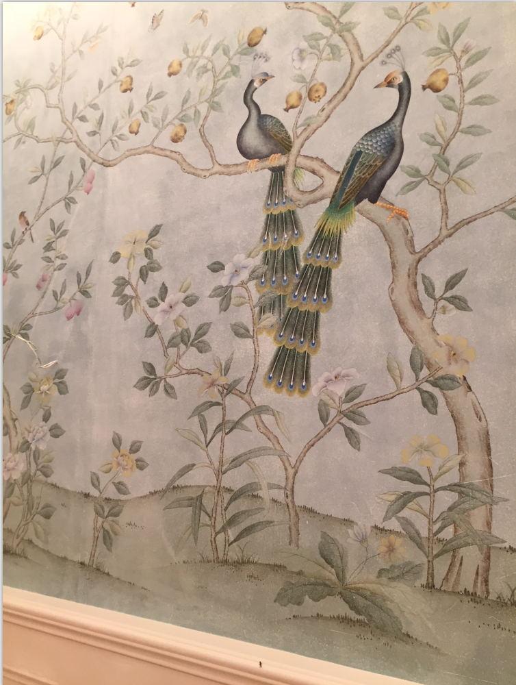 Классический античный эффект, ручная роспись, нетканые обои, живопись цветов с птицами, широкий выбор мотивов и фона, опционально