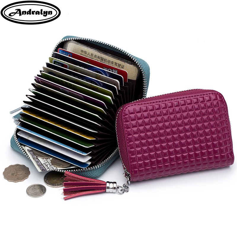 Andralyn Rfid Anti-Scanning Card Holder Wallet Organ Tassel Design Credit Card Zipper Change Purse Split Cow Leather Cardholder