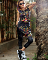 Fashion Women 2014 Clothes Two Piece Skirt And Top Harajuku Geometric Print Sport Suit Personalized Trend
