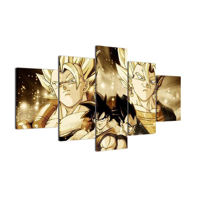 5 Piece Modern Painting Goku and Vegeta Canvas Printed Wall Art