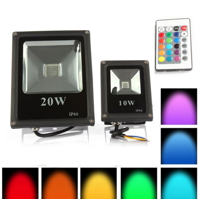 1pcs Spotlight Outdoor RGB LED 10W 20W 30W 50W IP65 Waterproof Led Floodlight Led Reflector Lamp Spot Flood Light AC85-265V 1pcs 100w led floodlight 2pcs 50w chip waterproof outdoor led flood light ac85 265v outdoor led spotlight outside led reflector