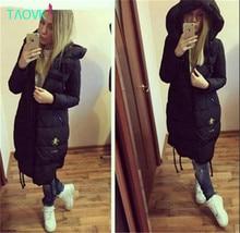 TAOVK Русский стиль дизайна новый 2016 женская длинный отрезок с капюшоном пальто на вате