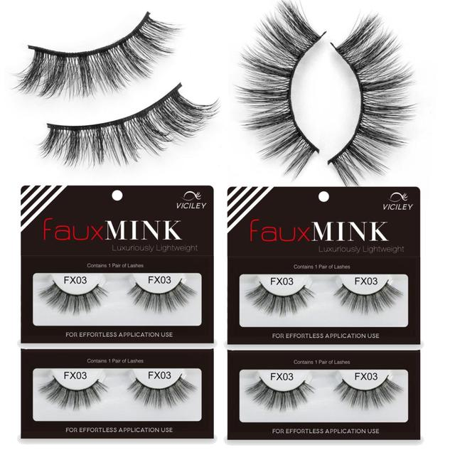 4fa562c59b8 4Pairs/lot 3D Mink Lashes Custom Eyelash Packaging 100% Handmade Faux Mink  Lashes natural false eyelashes fake lashe