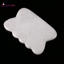 1 Pcs 100% Natural white  jade guasha board massage tool facial treatment scraping tool for body health care