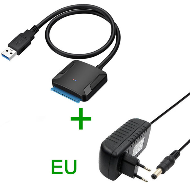 Cables USB 3.0 to SATA Adapter Converter Cable USB3.0 5Gb Converter for Samsung Seagate WD 2.5 3.5 HDD SSD Adapter for BTC Miner Mining Cable Length: About 45cm, Color: EU Adapter