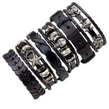 Wholesale Black Leather Bracelet Men Multilayer Braid Bracelets & Bangles Punk Wrap Bracelets for Women Punk Casual Men Jewelry