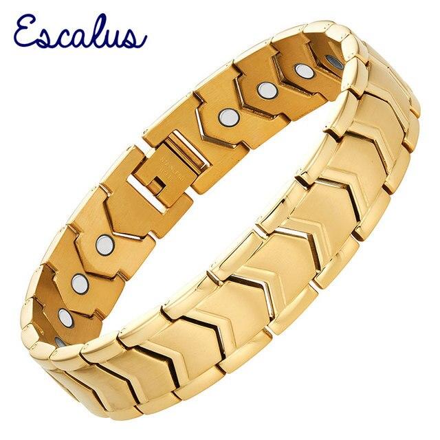 ece588d1fa95 Escalus hombres 21 piezas imán pulsera de oro de acero inoxidable de Color  pulsera elegante regalo