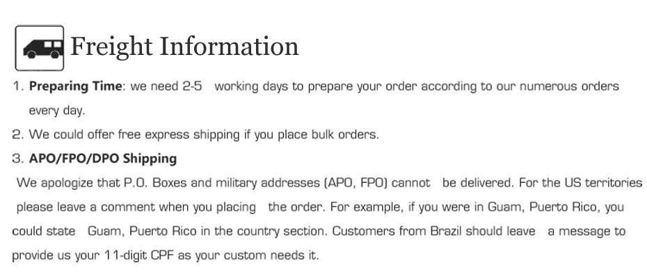 7 Freight information