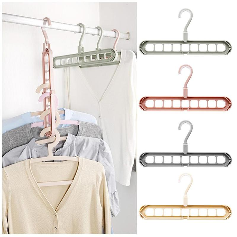 2pcs Multifunctional Clothing Rack Space Saving Home Drying Rack Plastic Clothes Hanger Tidy Home Helper Accessories 4 Colors