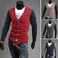 Падение продажи Весна/Осень 2015 новый мужской моды случайные V-образным Вырезом кардиган свитер Хит цвет длинными рукавами куртка набор бесплатно