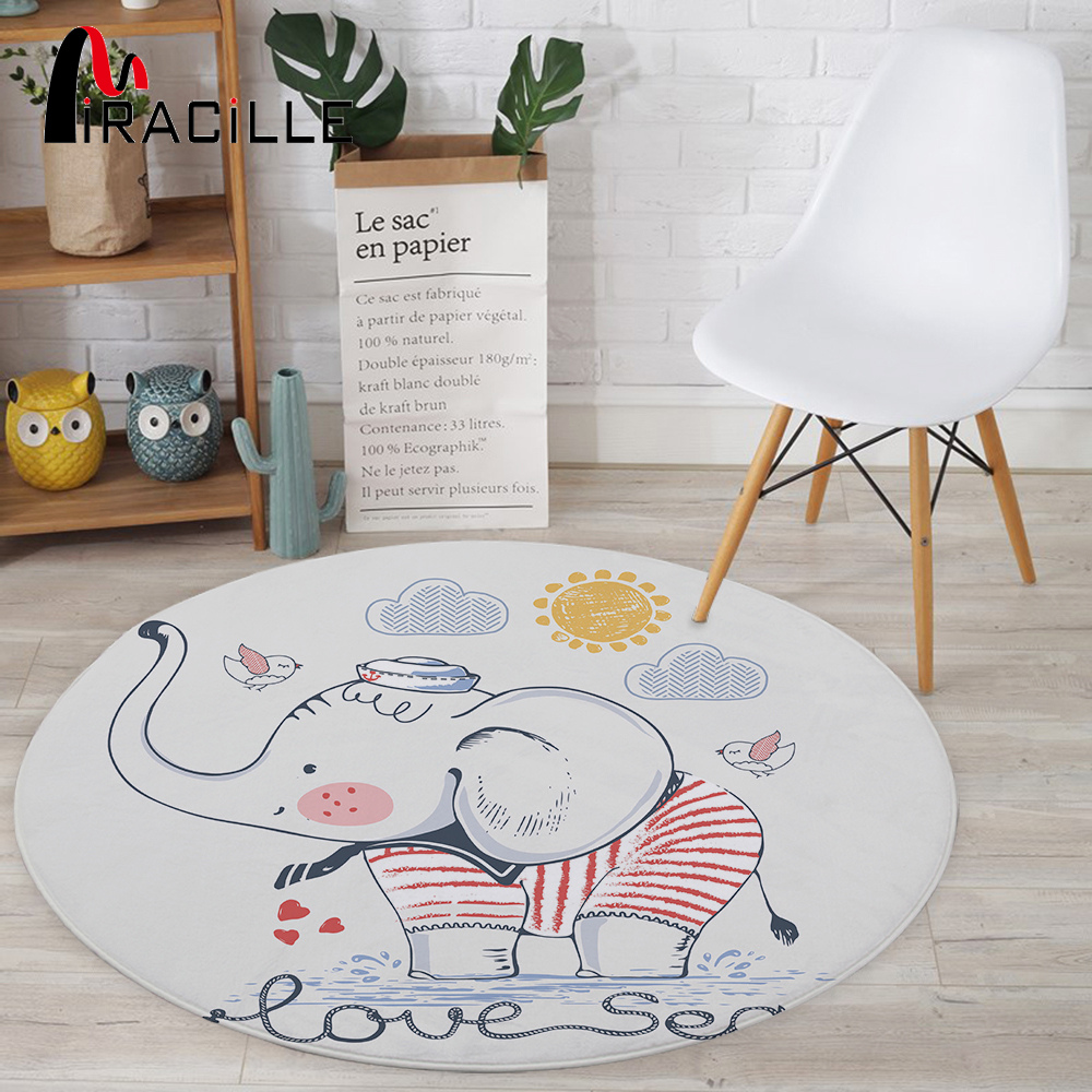 Miracille Modern Animals Baby Rug Cartoon Tiger Elephant Printed Decorative Round Carpet Kid's Play Crawl Chair Mat