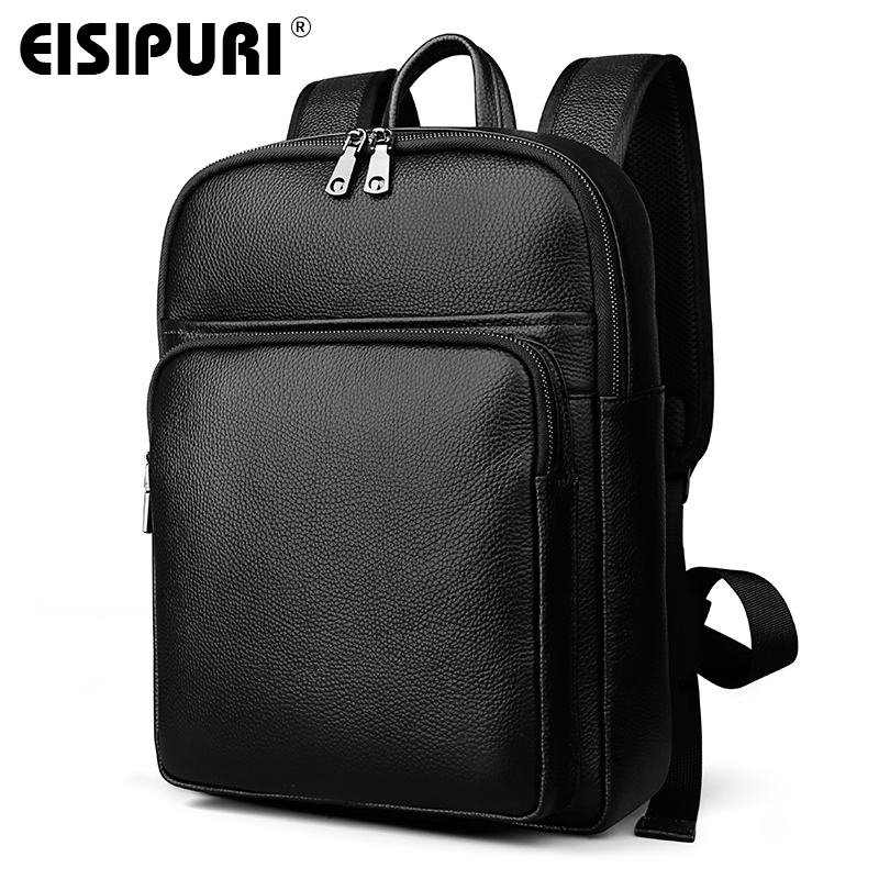 EISIPURI Luxury Brand Genuine Cow Leather Unisex Backpacks High Quality Solid Color Laptop Bag Large Capacity Men's Travel Bag