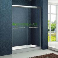 Shower Room Double Sliding Aluminium Bypass Shower Doors Tempered Glass Sliding Enclosed Portable Simple Shower Cabin