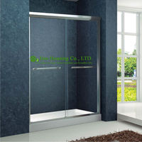 Shower room Double Sliding Aluminium bypass Shower Doors,Tempered Glass Sliding Enclosed Portable simple shower cabin
