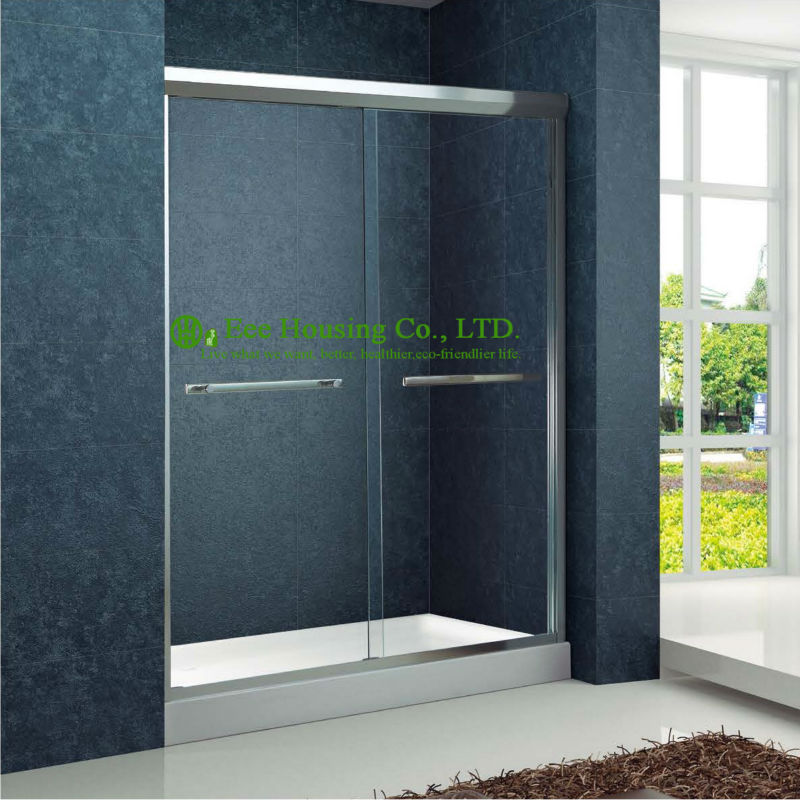 Shower Room Double Sliding Aluminium Bypass Shower Doors,Tempered Glass Sliding Enclosed Portable Simple Shower Cabin
