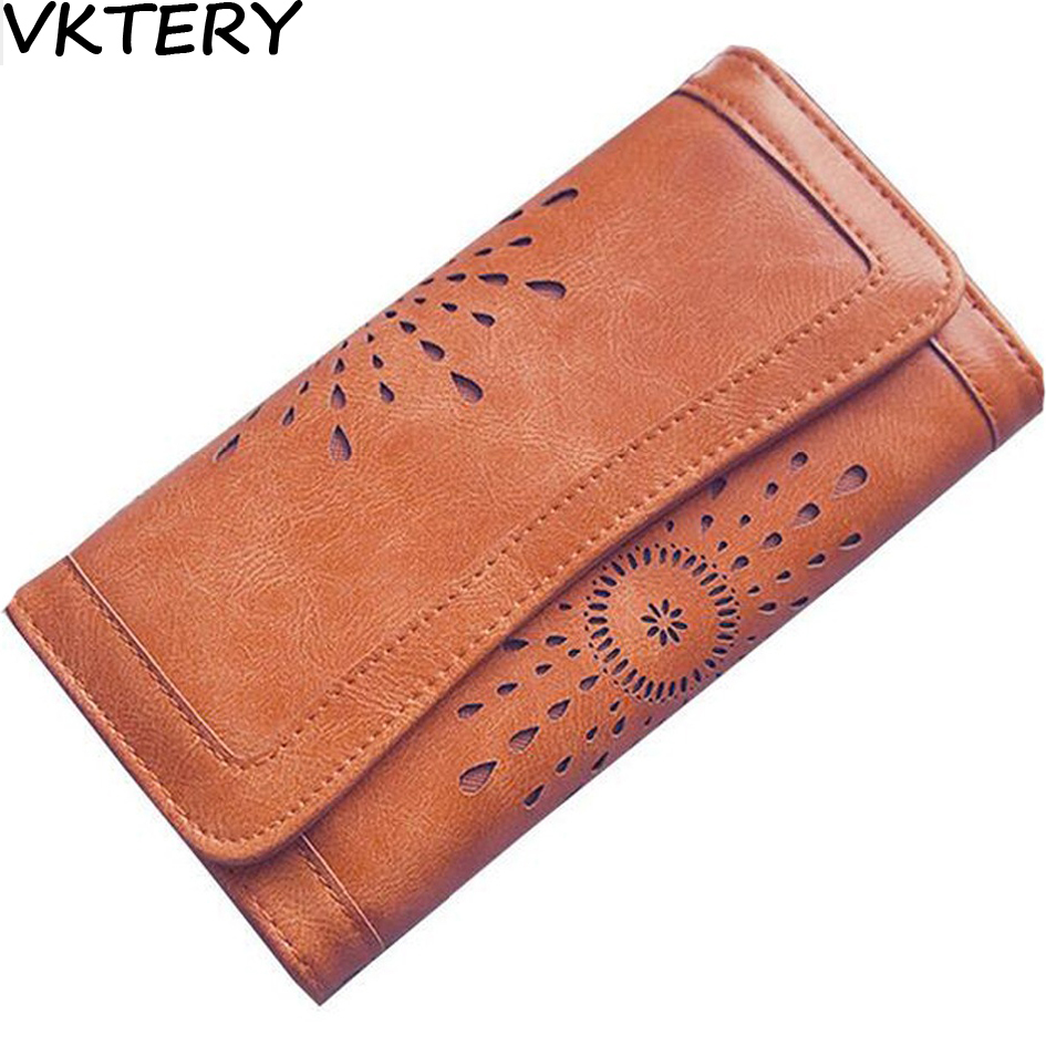 2016Hollow Out Women Wallets Black Cover Coin Purse Women s Wallet PU Leather Brand Woman Purse