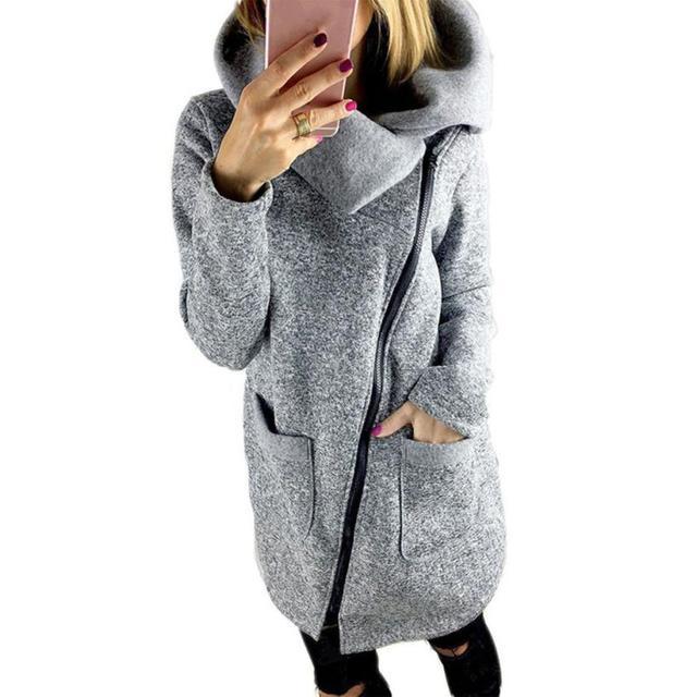 Mais Mulheres do Tamanho 5XL Casaco Quente Zipper Manga Comprida Casacos Casual Camisola Solta Outono Inverno Casacos Casacas Mujer 2016 # A11