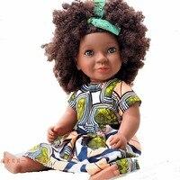 46cm Black skin africa girl Doll curls Doll Explosive head Toy Newborn Boy Girl Birthday Gift Emulated Dolls Children Gift Doll