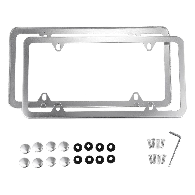 Plata aleación de aluminio marco de la matrícula 2 unidades con ...
