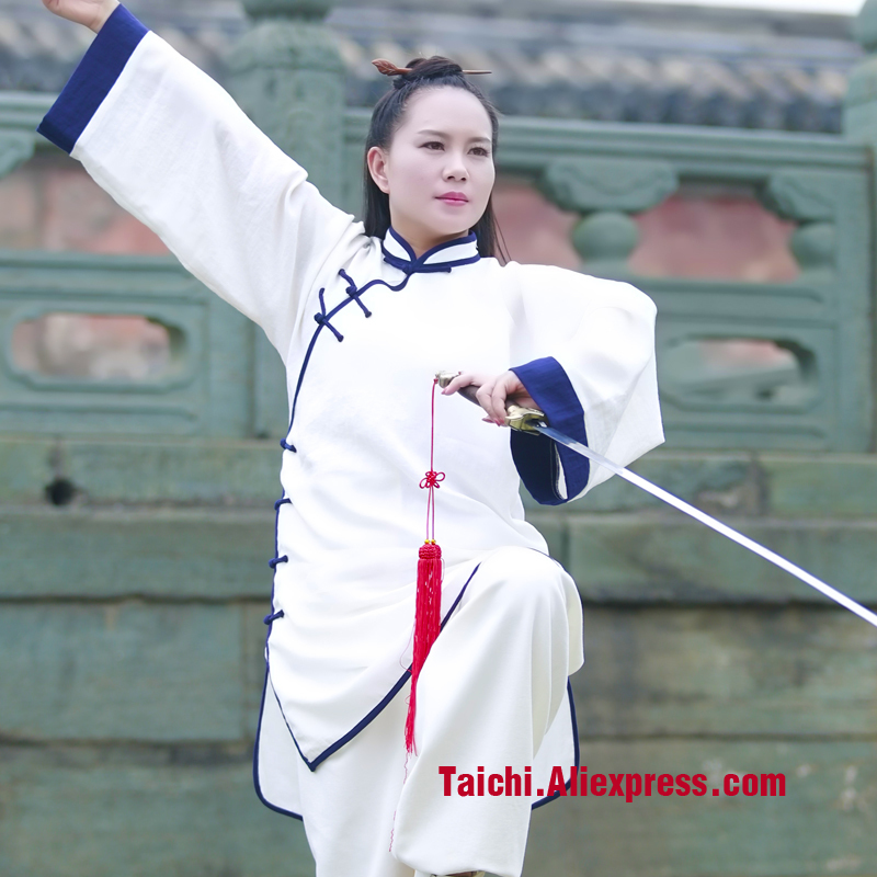 Wudang Tai Chi Clothing Female High Quality Flax Taiji Clothing Tai Chi Uniforms Kung Fu Performance Clothing Wushu Clothing