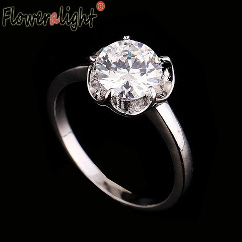 628e2a292d4d Floweralight redondo Anillos para las mujeres boda joyería Accesorios alta  calidad Anillos de compromiso cúbicos zirconia regalo de joyería r10025