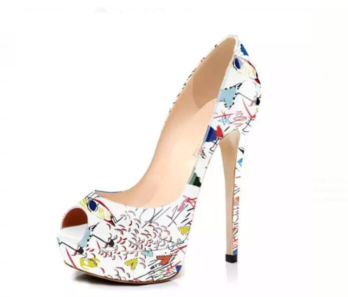 Moraima Snc Peep Toe Platform Pumps Printed Leather High Heel Shoes Woman Summer Slip on Party Dress Shoes 14cm Clubwear Heels Moraima Snc Peep Toe Platform Pumps Printed Leather High Heel Shoes Woman Summer Slip on Party Dress Shoes 14cm Clubwear Heels