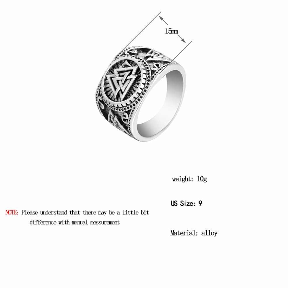Chengxun viking redondo grande largura signet anel dedo dos homens preto prata moda valknut atacado vintage jóias 15mm
