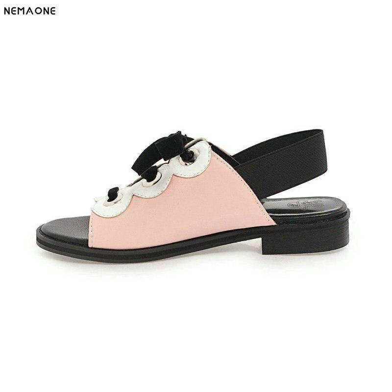 NEMAONENew women sandals lace up low heel sandals woman rome style back strap summer casual shoes woman large size 9 10 11 12