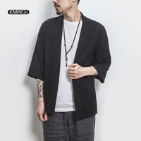 Summer New Men Fashion Casual Cotton Linen Cardigan Shirt Male Japan Style Kimono Shirt Jacket Size M 5XL