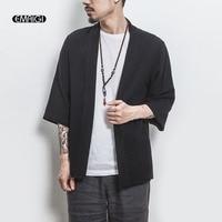 Summer New Men Fashion Casual Cotton Linen Cardigan Shirt Male Japan Style Kimono Shirt Jacket Size M 5XL