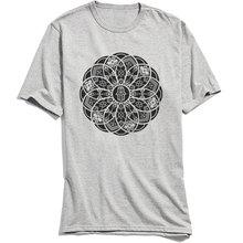 Men T-shirts Ornamental Hamsa Mandala Design Tops T Shirt 100% Cotton Round Neck Short Sleeve Casual TShirt Summer Grey Tees цена в Москве и Питере