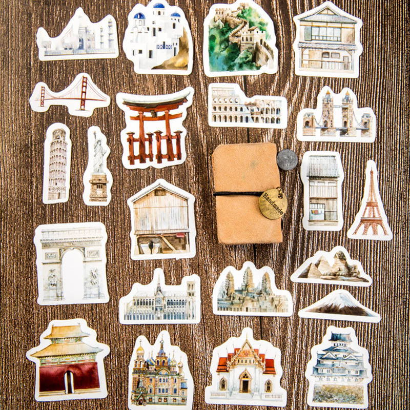 46pcs Cute Stationery Stickers Kawaii Building Stickers Novelty Adhesive Stickers For Kids DIY Scrapbooking Diary Photos Albums