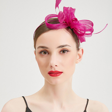 Women Wedding Hat Elegant Fedora Hats Fascinator Flowers Feather Caps Cocktail Party Bridal Hair Clip Headwear Lady Crin Bow Cap