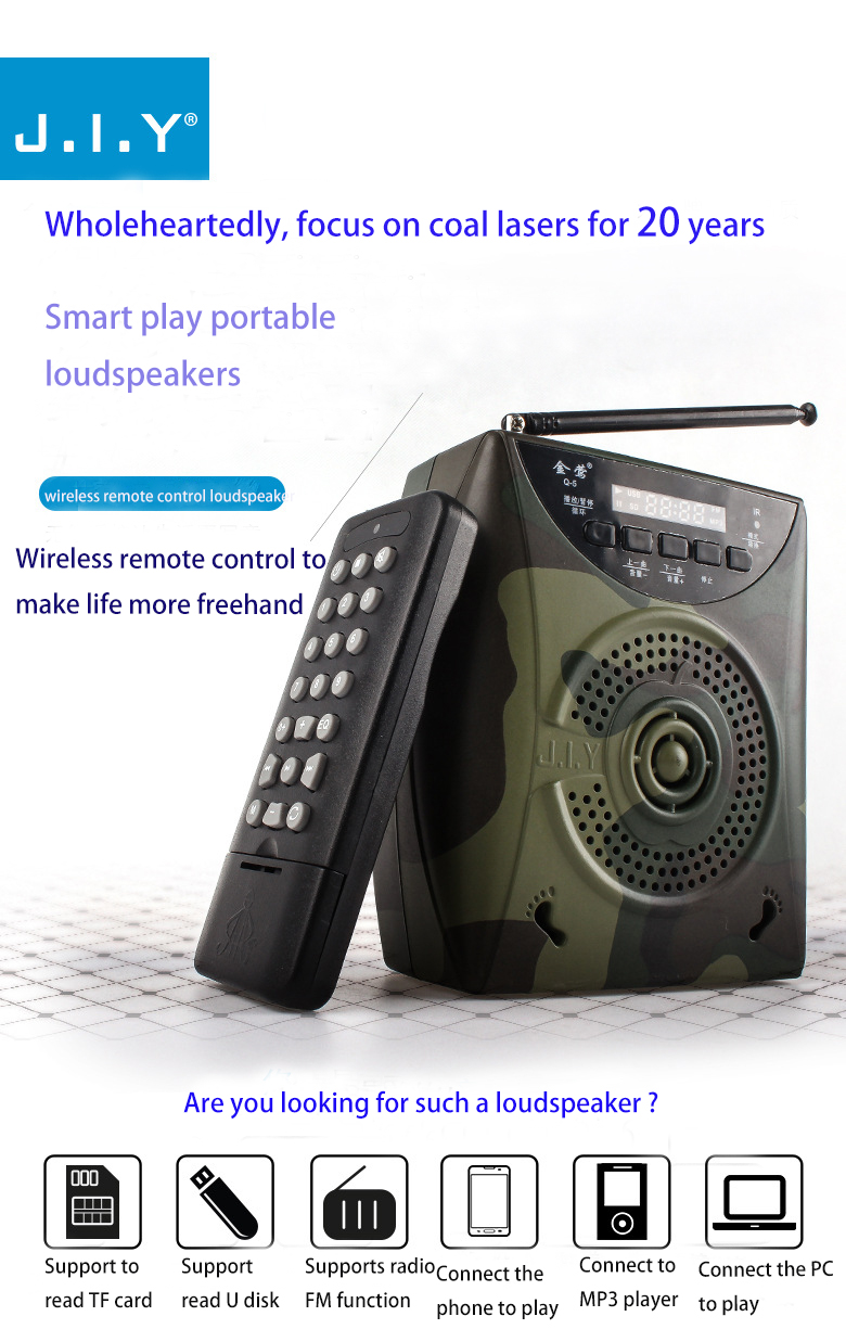 Mini Voice amplifier Speaker Wireless Microphone Portable Megaphone Booster Loudspeaker MP3 player SD TF Card USB disk FM Radio l 288 portable fm radio stereo speaker mp3 music player double loudspeaker with tf card usb disk input gift for parents