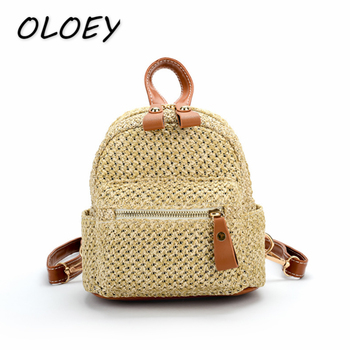 Women Straw Beach Backpack Casual Summer Knitting Travel Holiday Zipper Mini Size Tote Rattan Woven  Purse !