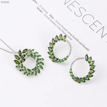 цена wholesale new-designed 925 sterling silver natural green topaz earring necklace pendant jewelry set for women онлайн в 2017 году