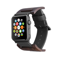 FOHUAS Ebony Wood Watch Band Genuine Leather Loop For Apple Watch Series 3 42 Mm Retro