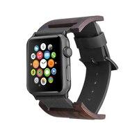 FOHUAS Ebony Wood Watch Band Genuine Leather Loop For Apple Watch Series 3 42 Mm Retro