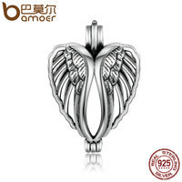 BAMOER 100 925 Sterling Silver Angel Wings Feather Heart Cage Pendant Fit Chain Necklaces Women Authentic