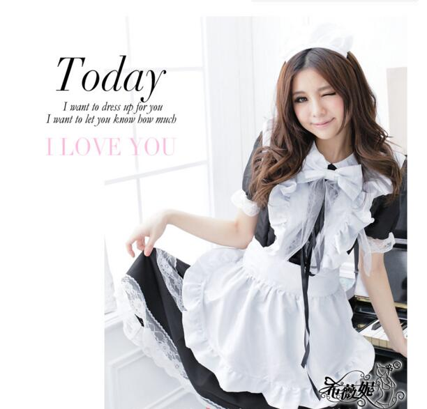 Sexy French Maid Costume Sweet Gothic Lolita Dress Anime Maid Uniform Plus Size Halloween Costumes For Women new